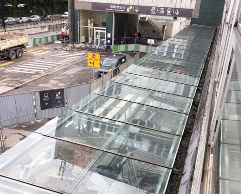 Remplacement de vitrage sur une verrière à la Gare Sud de Nantes